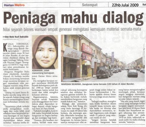 Harian Metro - 22 Julai 2009 - dialog