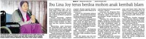 Ibu Lina Joy terus berdoa