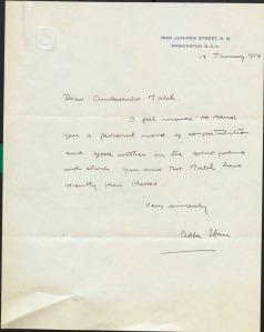 Ucapan tahniah Abba Eban (bekas Timbalan Perdana Menteri Israel) kepada Charles Malik pada tahun 1954
