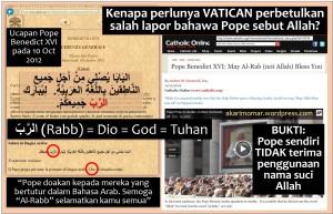 Bukti Pope Tak Mahu Kalimah Allah