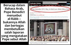 Pope Benedict-Rabb not Allah