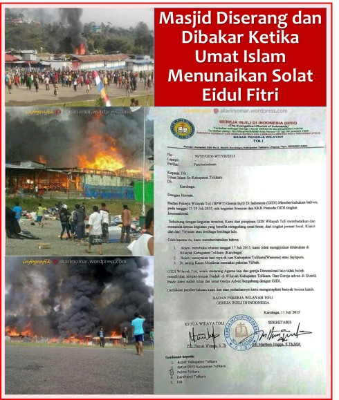 masjid tolibara dibakar solat EID