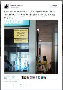 HannahYeoh-tweet-refuse entry Sarawak-2016