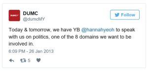 tweet DUMC-HannahYeoh-onPolitics